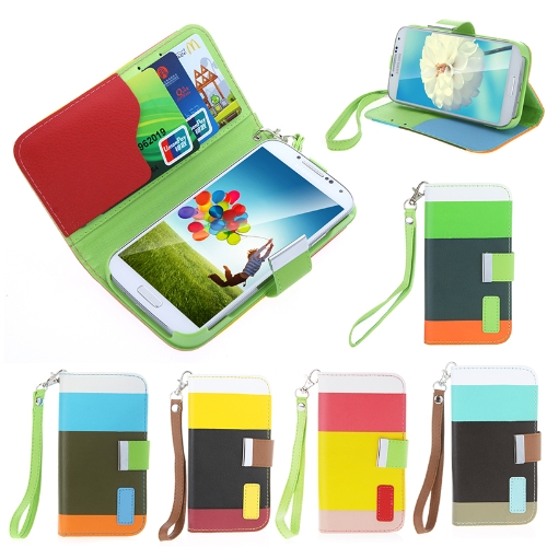 Colorful Leather Wallet Case Flip Leather Stand Cover with Card Holder for Samsung Galaxy S4 i9500/i9505Cellphone &amp; Accessories<br>Colorful Leather Wallet Case Flip Leather Stand Cover with Card Holder for Samsung Galaxy S4 i9500/i9505<br>