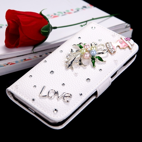 Flip Leather Bling Flower Wallet Case Cover with Stand Card Holder for Apple iPhone 6Cellphone &amp; Accessories<br>Flip Leather Bling Flower Wallet Case Cover with Stand Card Holder for Apple iPhone 6<br>