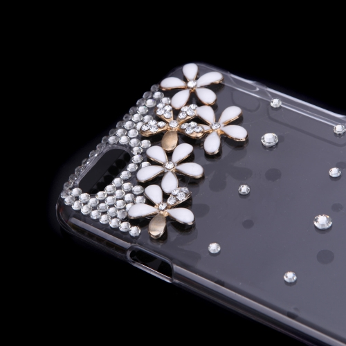 Luxury Clear Transparent Crystal Bling Rhinestone Diamond White Flower Case Hard Back Cover Protective Shell for Apple iPhone 6Cellphone &amp; Accessories<br>Luxury Clear Transparent Crystal Bling Rhinestone Diamond White Flower Case Hard Back Cover Protective Shell for Apple iPhone 6<br>