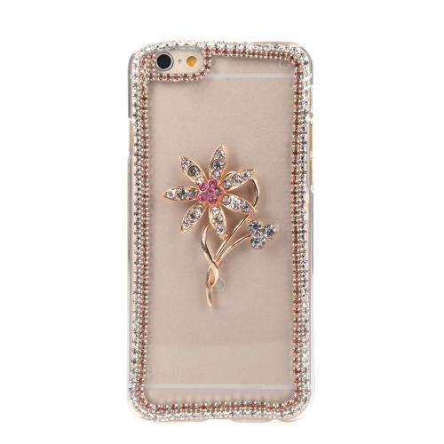 Lusso chiaro trasparente cristallo cerchio Bling strass diamante fiore caso Hard Back Cover protettivo Shell per Apple iPhone 6