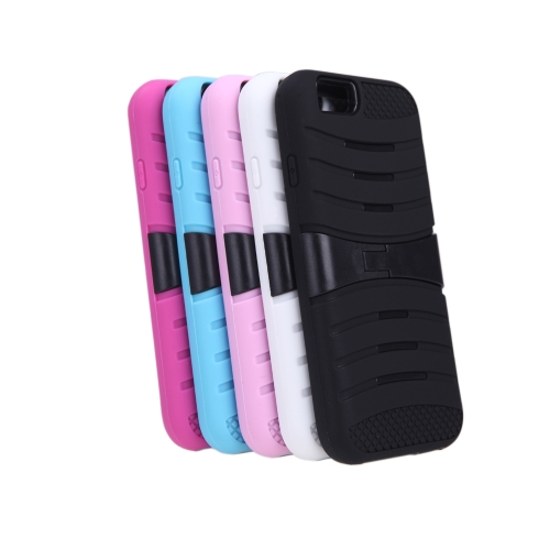 Detachable Dual Layer Silicone & PC Back Case Protective Shell Cover with Stand for iPhone 6 Black