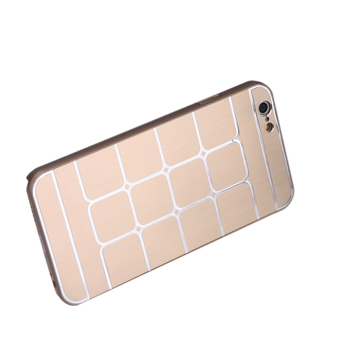 Lattice Grid Protective Brushed Aluminum Hard Back Case Cover Skin for Apple iPhone 6 Golden