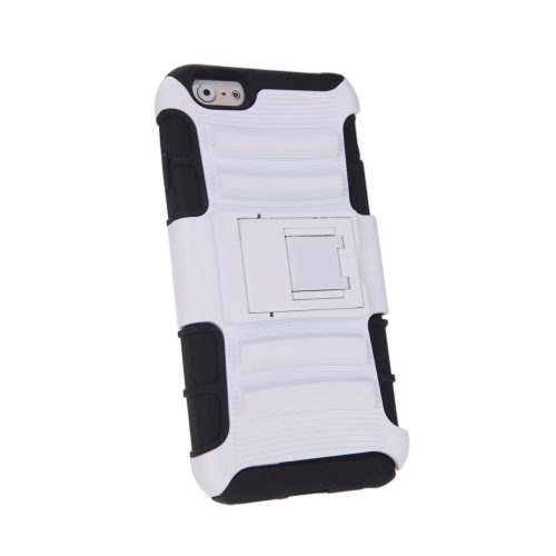 For iPhone 6 4.7�®�� Dual Layer Silicone & PC Back Case Protective Shell Cover with Stand White