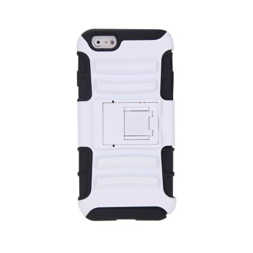 Pour l'iPhone 6 4,7 cm double couche & PC arrière protection coque Housse étui Case Silicone avec Stand blanc