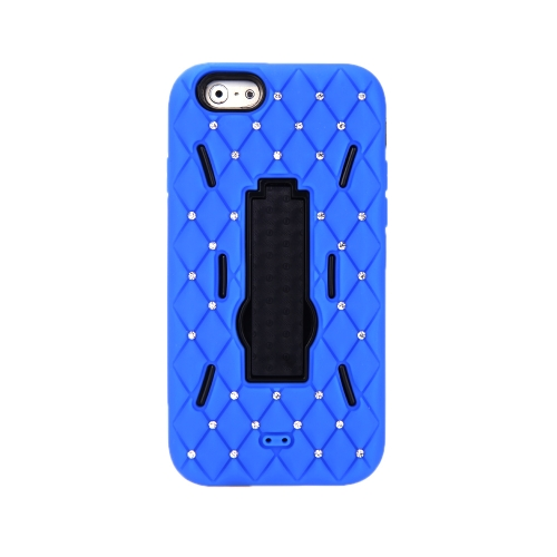 Detachable Dual Layer Silicone & PC Back Case Protective Shell Cover with Stand  Bling Crystal Decoration for iPhone 6 Royalblue