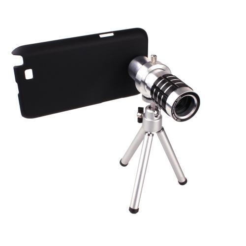 Telefono Camera Lente Teleobiettivo Lente Obiettivo Kit  Camera Zoom 12X + Treppiede + Custodia Case Cover Borsa Per Samsung Galaxy Note2 II N7100