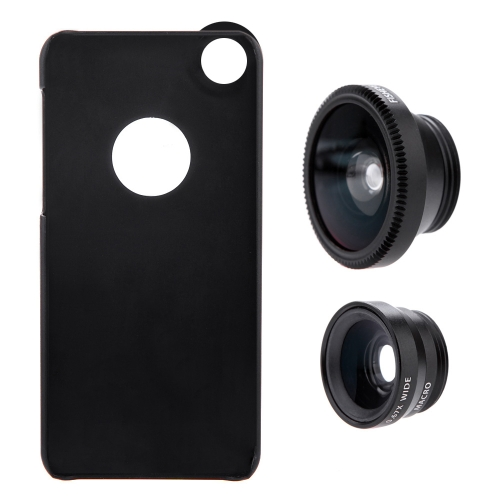 3-in-1 Phone Photo Lens 180° Fisheye 0.67X Wide Angle 10X Macro Set with Case for iPhone 5 5SCellphone &amp; Accessories<br>3-in-1 Phone Photo Lens 180° Fisheye 0.67X Wide Angle 10X Macro Set with Case for iPhone 5 5S<br>