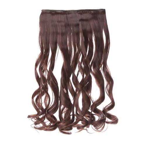 24 ' 60 cm 長い巻き毛拡張女性毛 5 クリップ、ヘア拡張機能に手を振って