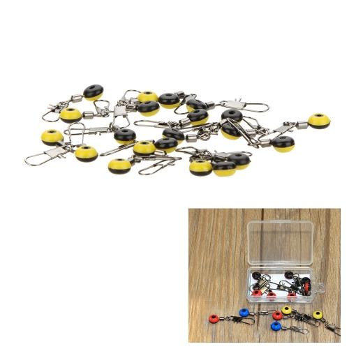 20Pcs espace haricots connecteur Rolling Swivel pêche flotteur accessoires fournitures de pêche Tackle avec Carry case