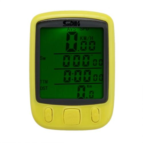 Bicicletta calcolatore di tachimetro LCD   retroilluminato multifunzione impermeabile