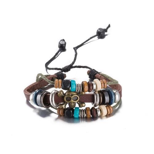 Vintage Fashion Alloy Wood Charm Rope Leather Wristband Unisex BraceletApparel &amp; Jewelry<br>Vintage Fashion Alloy Wood Charm Rope Leather Wristband Unisex Bracelet<br>