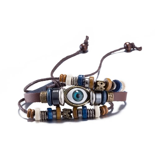 Vintage Fashion Alloy Metal Eye Charm Strap Leather Wristband Unisex BraceletApparel &amp; Jewelry<br>Vintage Fashion Alloy Metal Eye Charm Strap Leather Wristband Unisex Bracelet<br>