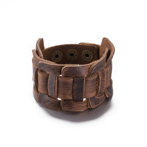 Vintage Fashion Alloy Metal Button Wide Leather Unisex BraceletApparel &amp; Jewelry<br>Vintage Fashion Alloy Metal Button Wide Leather Unisex Bracelet<br>