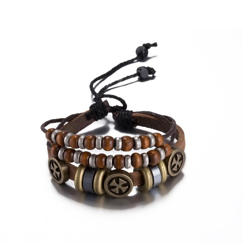 Vintage Alloy Metal Charm Wood Bead Strap Leather Wristband Unisex BraceletApparel &amp; Jewelry<br>Vintage Alloy Metal Charm Wood Bead Strap Leather Wristband Unisex Bracelet<br>