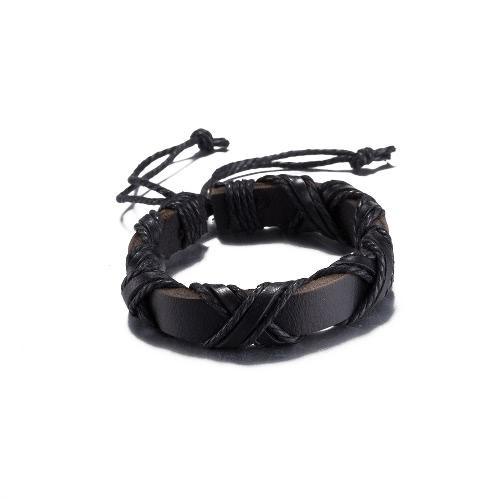 Vintage Fashion Cross Strap Leather Wristband Unisex Bracelet