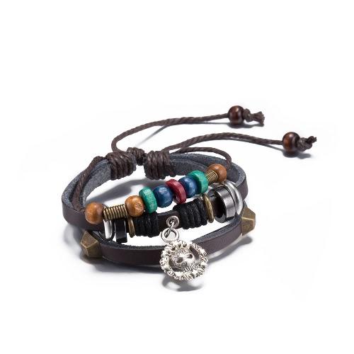 Vintage Alloy Skull Pendant Wood Charm Strap Leather Wristband Unisex BraceletApparel &amp; Jewelry<br>Vintage Alloy Skull Pendant Wood Charm Strap Leather Wristband Unisex Bracelet<br>