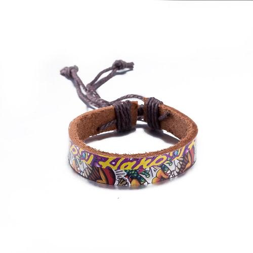 Vintage Fashion Print Charm Strap Leather Unisex BraceletApparel &amp; Jewelry<br>Vintage Fashion Print Charm Strap Leather Unisex Bracelet<br>
