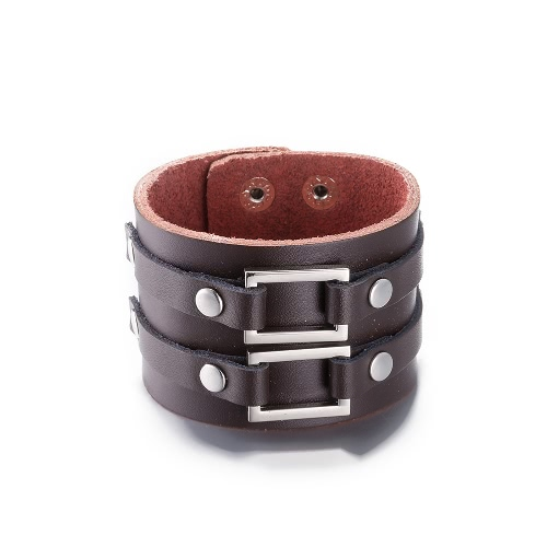 Vintage Fashion Alloy Metal Charm Button Wide Leather Wristband Unisex BraceletApparel &amp; Jewelry<br>Vintage Fashion Alloy Metal Charm Button Wide Leather Wristband Unisex Bracelet<br>