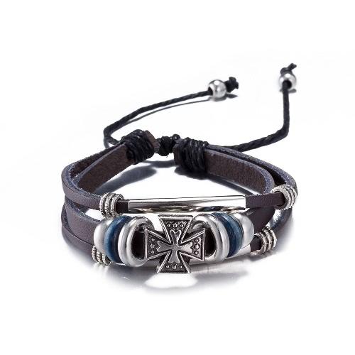 Vintage Fashion Alloy Metal Cross Charm Strap Leather Wristband Unisex BraceletApparel &amp; Jewelry<br>Vintage Fashion Alloy Metal Cross Charm Strap Leather Wristband Unisex Bracelet<br>