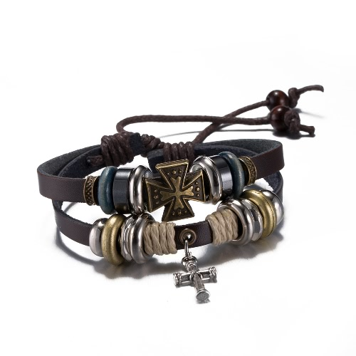 Vintage Alloy Metal Cross Charm Pendant Strap Leather Wristband Unisex BraceletApparel &amp; Jewelry<br>Vintage Alloy Metal Cross Charm Pendant Strap Leather Wristband Unisex Bracelet<br>