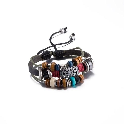 Vintage Fashion Alloy Wood Charm Strap Leather Wristband Unisex BraceletApparel &amp; Jewelry<br>Vintage Fashion Alloy Wood Charm Strap Leather Wristband Unisex Bracelet<br>