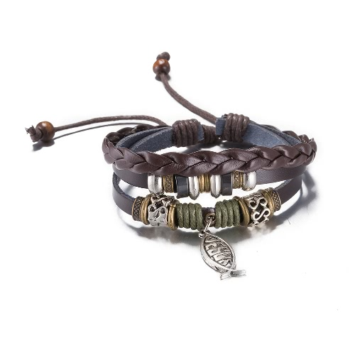 Vintage Alloy Fish Pendant Metal Charm Strap Leather Wristband Unisex BraceletApparel &amp; Jewelry<br>Vintage Alloy Fish Pendant Metal Charm Strap Leather Wristband Unisex Bracelet<br>