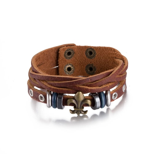 Vintage Fashion Alloy Metal Charm Button Leather Wristband Unisex BraceletApparel &amp; Jewelry<br>Vintage Fashion Alloy Metal Charm Button Leather Wristband Unisex Bracelet<br>