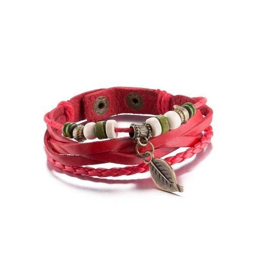 Vintage Leaf Pendant Alloy Metal Charm Button Rope Leather Wristband BraceletApparel &amp; Jewelry<br>Vintage Leaf Pendant Alloy Metal Charm Button Rope Leather Wristband Bracelet<br>