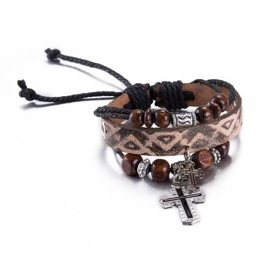 Vintage Cross Pendant Alloy Wood Charm Rope Leather Wristband Unisex BraceletApparel &amp; Jewelry<br>Vintage Cross Pendant Alloy Wood Charm Rope Leather Wristband Unisex Bracelet<br>