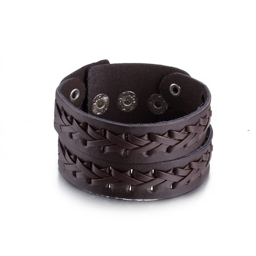 Vintage Fashion Alloy Metal Button Wide Unisex Solid Color Leather BraceletApparel &amp; Jewelry<br>Vintage Fashion Alloy Metal Button Wide Unisex Solid Color Leather Bracelet<br>