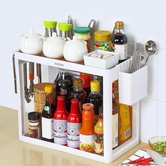 Ripiano per attrezzi da cucina in ecocucina bianca - Attrezzi per cucina ...