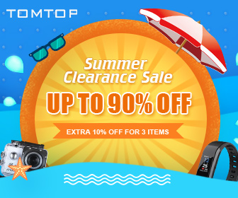 Get Up To 90% Off Tomtop 2018 Summer Clearance Sale,Extra 10% Off for 3 Items