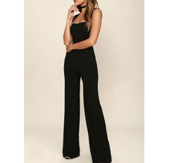 New Sexy Women Flared Square Neck Jumpsuit Solid Color Sleeveless Back Zipper Romper Playsuit Black