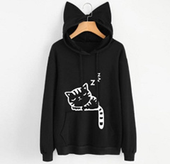 Women Ears Hoodies Hooded Cat Print Long Sleeves Front Pocket Sweatshirt Pullovers Outwear