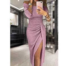 Sexy Women Shiny Knitte Dress Off the Shoulder Slash Neck Ruched Thigh Slit Bodycon Club Party Dress