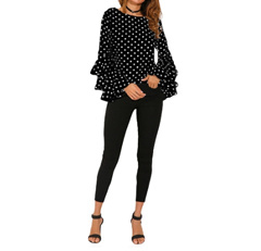 Women Polka Dot Ruffle Blouse Top Long Sleeves O-Neck Elegant Casual Shirt Black
