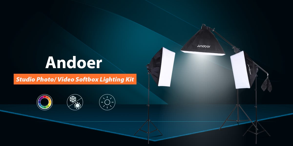 Andoer Studio Photo/ Video Softbox Lighting Kit