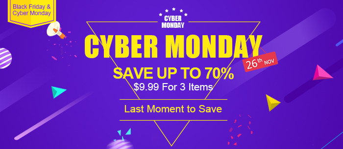 Cyber Monday special offer,Save Up To 70%,$9.99 for 3 Items - Tomtop.com