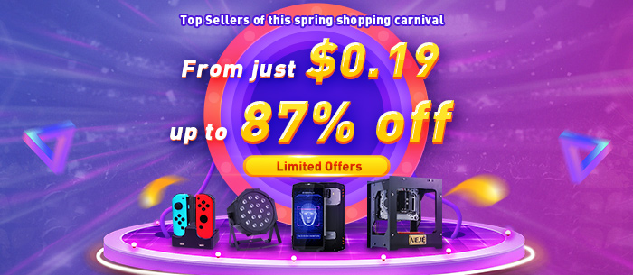 Top Sellers of 2018 Shopping Carnival, From $0.19 + Up to 87% Off