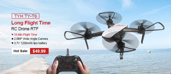 Get TYH TY-T6 Wifi FPV 2.0MP Wide Angle Camera RC Drone Quadcopter RTF 2.0MP Wide Angle Camera / 18 Min Flight Time / 3.7V 1200mAh lipo battery / Headless Mode / Altitude Hold