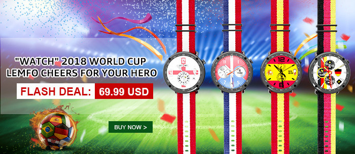 Get LEMFO LF22 GPS Smart Watch with 2018 World Cup Theme 1.3-inch Touch Screen IP67 Waterproof Pedometer Smart Watch for iOS 11.0 / Android 6.0 and above for $69.99,free shipping,flash sale,500 pcs only