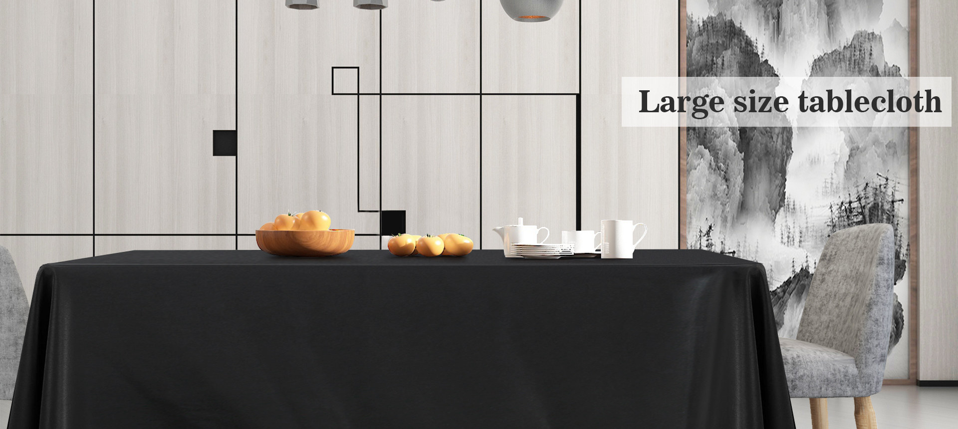 Large Size Black Tablecloth