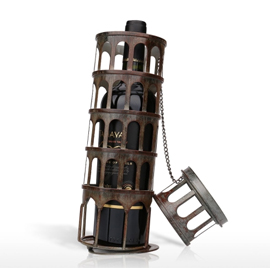 Leaning Tower Wine Rack Practical Sculp Home Decor