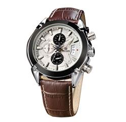 Megir Genuine Leather 3 Small Dials Quartz Watch