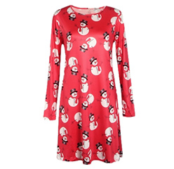Christmas Santa Snowman Print Women's Dress