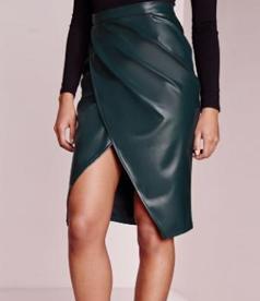 Wrap High Waist Midi PU Skirt