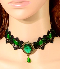 Gothic Crystal Stone Lace Necklace