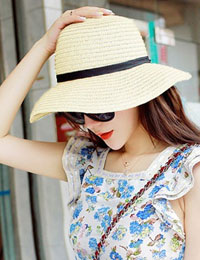 Straw Wide Brim Summer Beach Hat