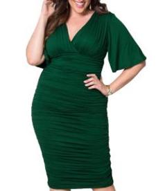 Draped Plus Size Midi Dress