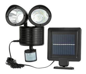 Lixada 22LEDs Solar Powered Rotatable Adjustable Double Dural Heads Security Wall Lamp Light